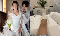 Sau đám cưới ở Mỹ chưa bao lâu, Hoa hậu Thu Hoài gặp sự cố nứt xương chân khiến nhiều người lo lắng